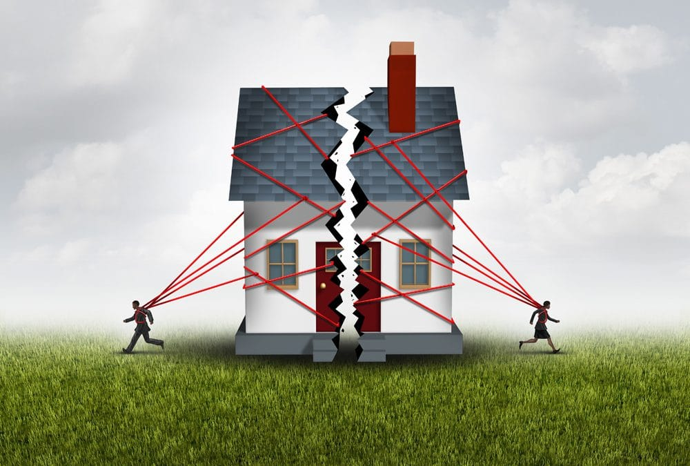 Domestic Investigations - Broken family after a bitter divorce settlement and separation with a couple in a bad relationship breaking a house apart showing the concept of a marriage dispute and dividing assets with 3D illustration elements.